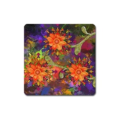 Abstract Flowers Floral Decorative Square Magnet