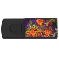 Abstract Flowers Floral Decorative USB Flash Drive Rectangular (2 GB)