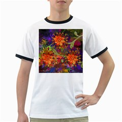Abstract Flowers Floral Decorative Ringer T Shirts