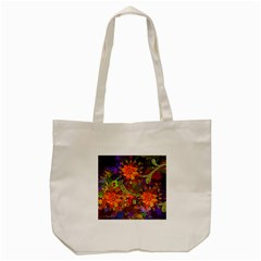 Abstract Flowers Floral Decorative Tote Bag (cream)