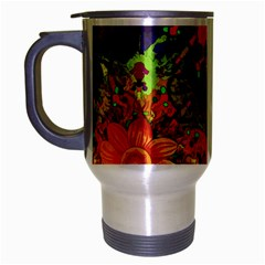 Abstract Flowers Floral Decorative Travel Mug (silver Gray)