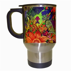Abstract Flowers Floral Decorative Travel Mugs (white)