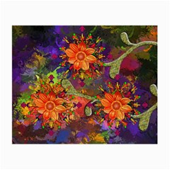 Abstract Flowers Floral Decorative Small Glasses Cloth