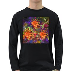 Abstract Flowers Floral Decorative Long Sleeve Dark T Shirts