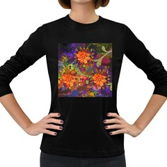 Abstract Flowers Floral Decorative Women s Long Sleeve Dark T Shirts