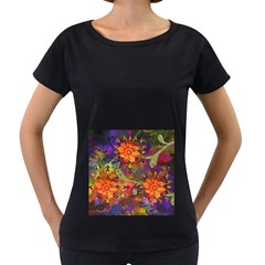 Abstract Flowers Floral Decorative Women s Loose Fit T Shirt (black)