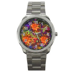 Abstract Flowers Floral Decorative Sport Metal Watch