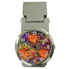 Abstract Flowers Floral Decorative Money Clip Watches