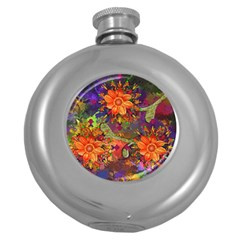 Abstract Flowers Floral Decorative Round Hip Flask (5 Oz)