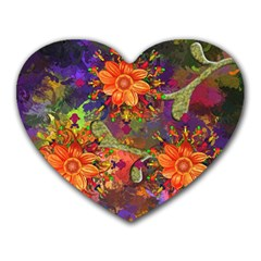 Abstract Flowers Floral Decorative Heart Mousepads