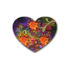 Abstract Flowers Floral Decorative Heart Coaster (4 Pack)