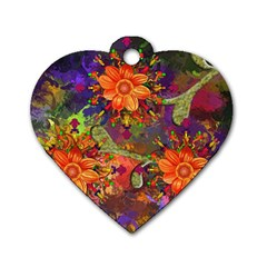 Abstract Flowers Floral Decorative Dog Tag Heart (one Side)