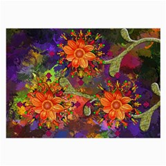 Abstract Flowers Floral Decorative Large Glasses Cloth