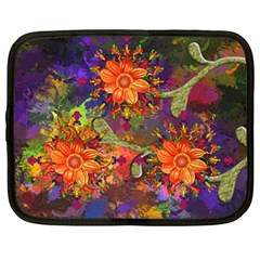 Abstract Flowers Floral Decorative Netbook Case (large)