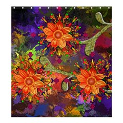 Abstract Flowers Floral Decorative Shower Curtain 66  X 72  (large)