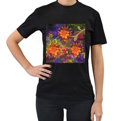 Abstract Flowers Floral Decorative Women s T Shirt (black)