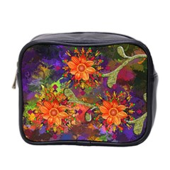 Abstract Flowers Floral Decorative Mini Toiletries Bag 2 Side