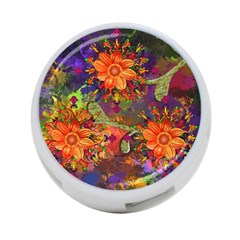 Abstract Flowers Floral Decorative 4 Port Usb Hub (two Sides)