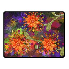 Abstract Flowers Floral Decorative Fleece Blanket (small)