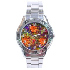 Abstract Flowers Floral Decorative Stainless Steel Analogue Watch
