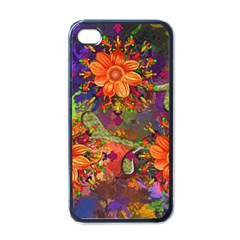 Abstract Flowers Floral Decorative Apple Iphone 4 Case (black)