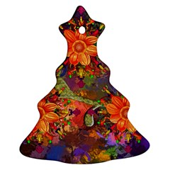 Abstract Flowers Floral Decorative Christmas Tree Ornament (two Sides)