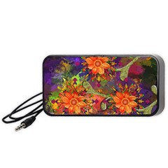 Abstract Flowers Floral Decorative Portable Speaker (black)