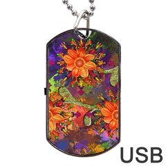 Abstract Flowers Floral Decorative Dog Tag Usb Flash (two Sides)