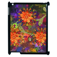 Abstract Flowers Floral Decorative Apple Ipad 2 Case (black)