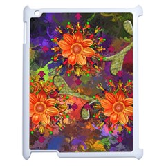Abstract Flowers Floral Decorative Apple Ipad 2 Case (white)