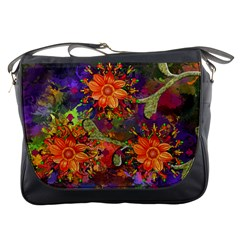 Abstract Flowers Floral Decorative Messenger Bags
