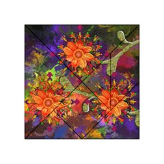 Abstract Flowers Floral Decorative Acrylic Tangram Puzzle (4  X 4 )
