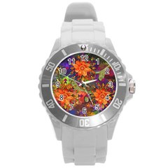 Abstract Flowers Floral Decorative Round Plastic Sport Watch (l)