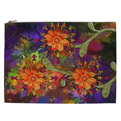 Abstract Flowers Floral Decorative Cosmetic Bag (xxl)