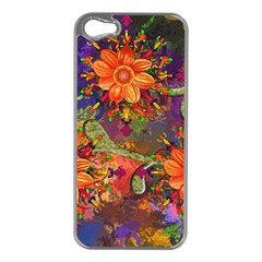 Abstract Flowers Floral Decorative Apple Iphone 5 Case (silver)