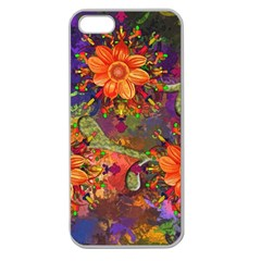 Abstract Flowers Floral Decorative Apple Seamless Iphone 5 Case (clear)