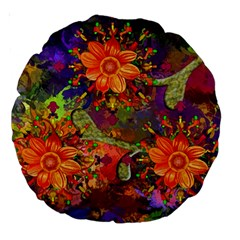 Abstract Flowers Floral Decorative Large 18  Premium Round Cushions