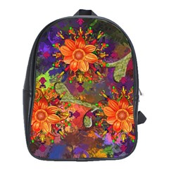 Abstract Flowers Floral Decorative School Bags (xl)