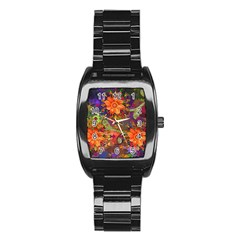 Abstract Flowers Floral Decorative Stainless Steel Barrel Watch