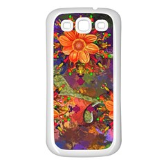 Abstract Flowers Floral Decorative Samsung Galaxy S3 Back Case (white)