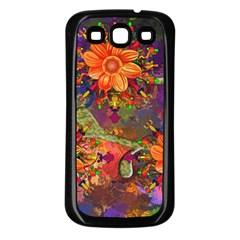 Abstract Flowers Floral Decorative Samsung Galaxy S3 Back Case (black)