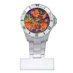 Abstract Flowers Floral Decorative Plastic Nurses Watch