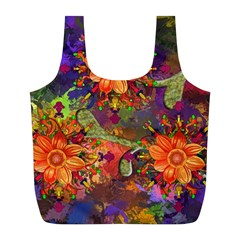 Abstract Flowers Floral Decorative Full Print Recycle Bags (l)