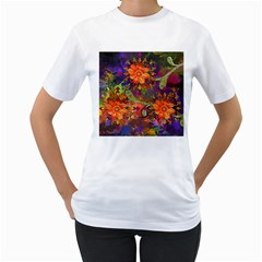 Abstract Flowers Floral Decorative Women s T Shirt (white)