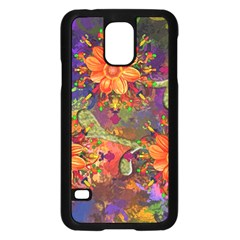 Abstract Flowers Floral Decorative Samsung Galaxy S5 Case (black)