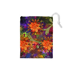 Abstract Flowers Floral Decorative Drawstring Pouches (small)