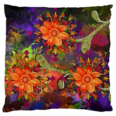Abstract Flowers Floral Decorative Large Flano Cushion Case (one Side)
