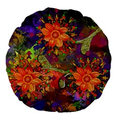 Abstract Flowers Floral Decorative Large 18  Premium Flano Round Cushions