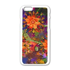 Abstract Flowers Floral Decorative Apple Iphone 6/6s White Enamel Case