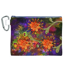 Abstract Flowers Floral Decorative Canvas Cosmetic Bag (xl)